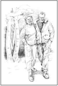 Drawing of a happy Caucasian woman and man walking with their arms around each other.