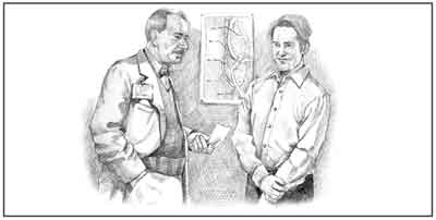Drawing of a male doctor and a male patient talking.