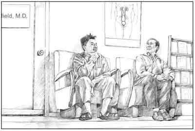 Drawing of a middle-aged Asian man and a younger Asian man sitting in a doctor?s waiting room.