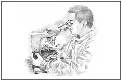 Drawing of a health care worker looking through a microscope.