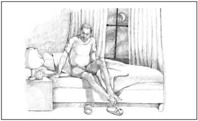 Drawing of an African American man getting out of bed due to nocturia.